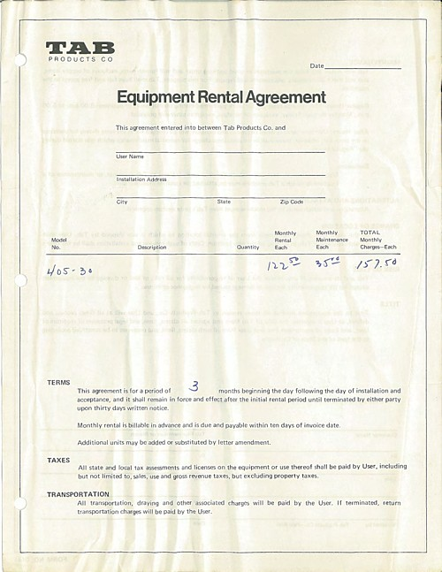 TAB Punch-Verifier 405-30 Rental Agreement