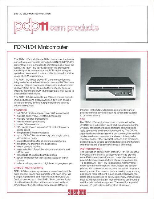 Digital PDP-11/04 Minicomputer